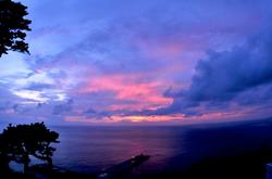 御蔵島からの夕日