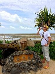 湘南から沖縄八重山旅行の由布島の海岸