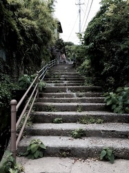 新潟県佐渡島相川の京町の階段長坂