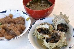 新潟県佐渡島の海鮮料理は佐渡西三川ゴールドパーク特産品販売組合婦人部のサザエ&ながも汁