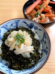 新潟県佐渡島の海鮮料理佐渡港海鮮横町のイカ&ながも丼