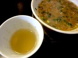 鯵ラーメンの小田原の鯵壱北條のつけ麺スープ割り