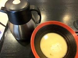 鎌倉小町通りの新魚介系鯛ラーメンかわかみのつけ麺のスープ割