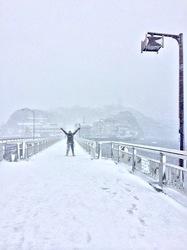 江ノ島弁天橋からの雪景色