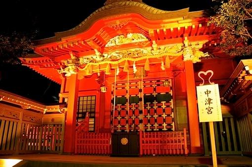 江の島灯籠2014ライトアップ江島神社の中津宮