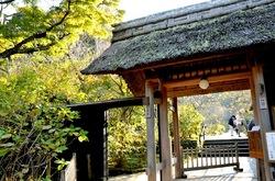 北鎌倉の紅葉散策東慶寺の山門前