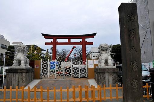 鎌倉鶴岡八幡宮へ続く段葛が工事中2014