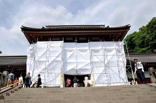 鎌倉鶴岡八幡宮の本殿が漆の塗り替え工事中