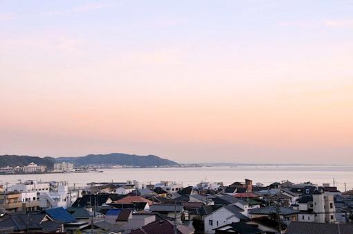 鎌倉長谷寺から材木座海岸の夕焼け